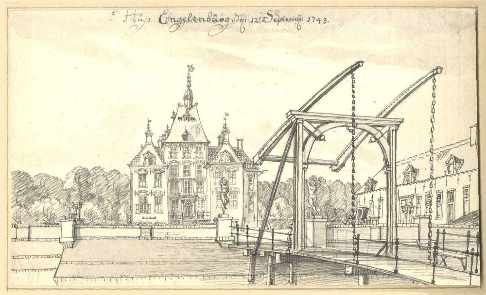 Kasteel Engelenburg in Brummen. Tekening Jan de Beijer, 1743